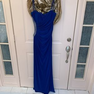 Blue Prom Dress with Cutout/Beaded Side and Slit